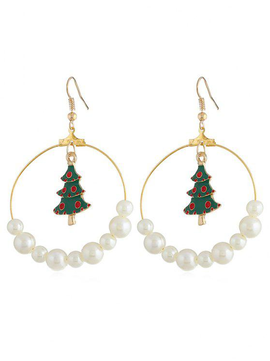 new Christmas Tree Artificial Pearl Hook Earrings - GOLD