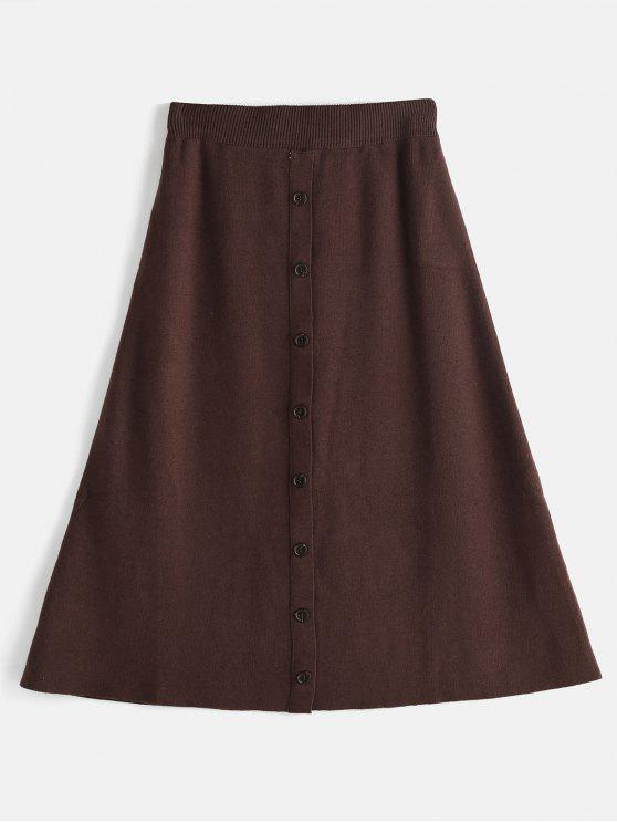hot Knitted Button Embellished Midi Skirt - SEPIA ONE SIZE