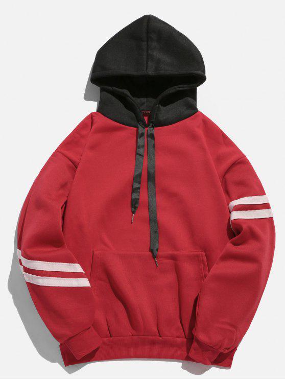 womens Kangaroo Pocket Fleece Pullover Hoodie - LAVA RED 2XL