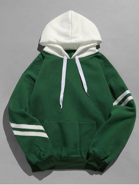 buy Kangaroo Pocket Fleece Pullover Hoodie - DEEP GREEN 2XL