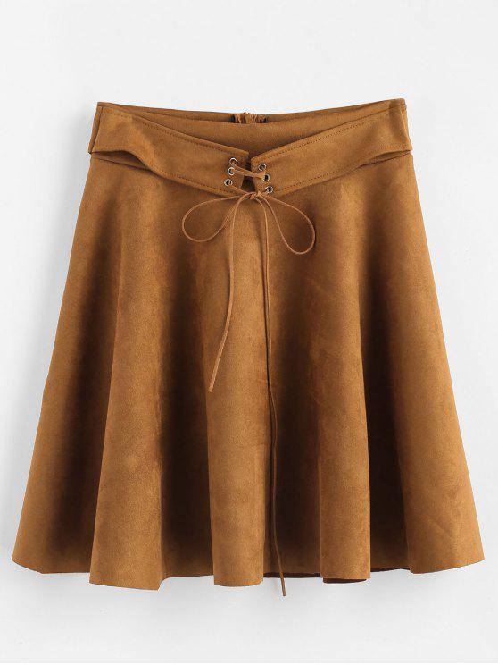 000a451e7c 35% OFF] 2019 Faux Suede Circle Skater Mini Skirt In BROWN | ZAFUL