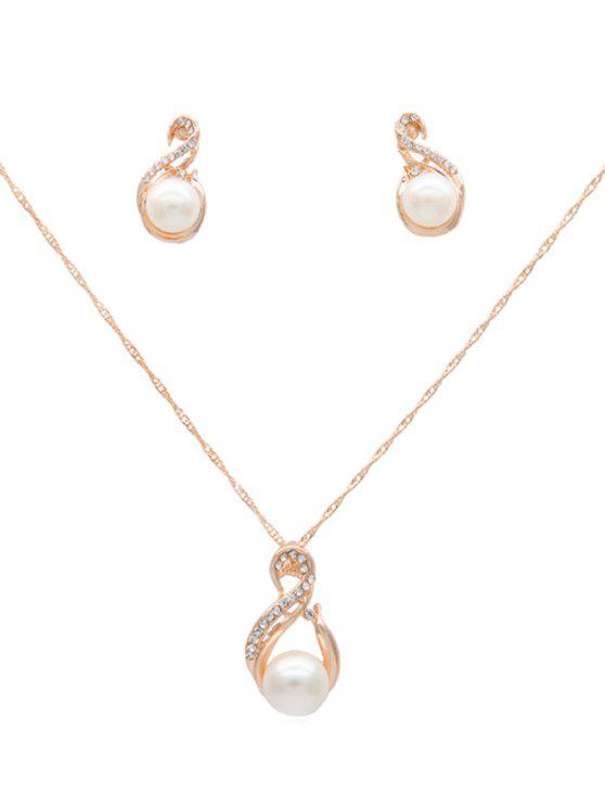 shop Rhinestone Artificial Pearl Chain Necklace Earrings Set - CHAMPAGNE GOLD