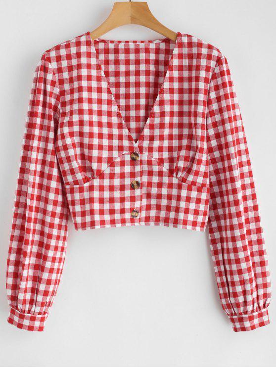 Blusa Ajustada Plaid - Rojo S