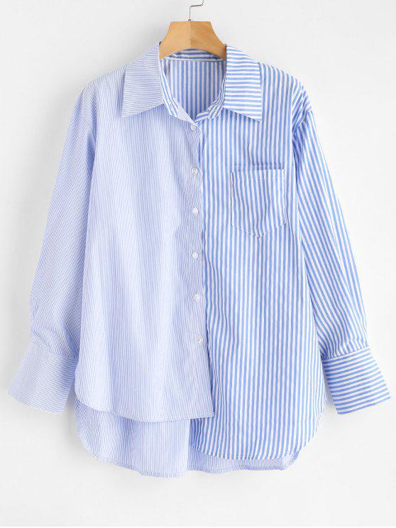 Camisa de rayas alta de bolsillo - Celeste L