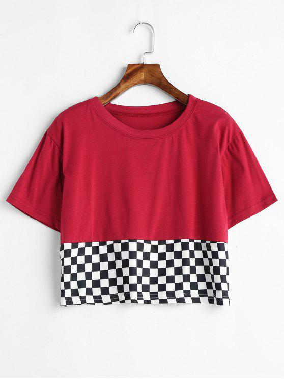 Camiseta de corte a cuadros con ajuste holgado - Vino Tinto L