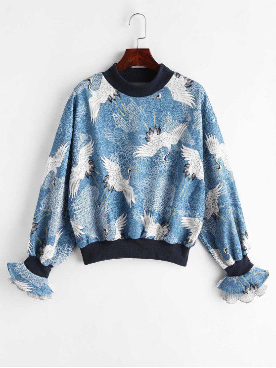 Kran Bell Sleeve Sweatshirt - Blauer Efeu Eine Größe