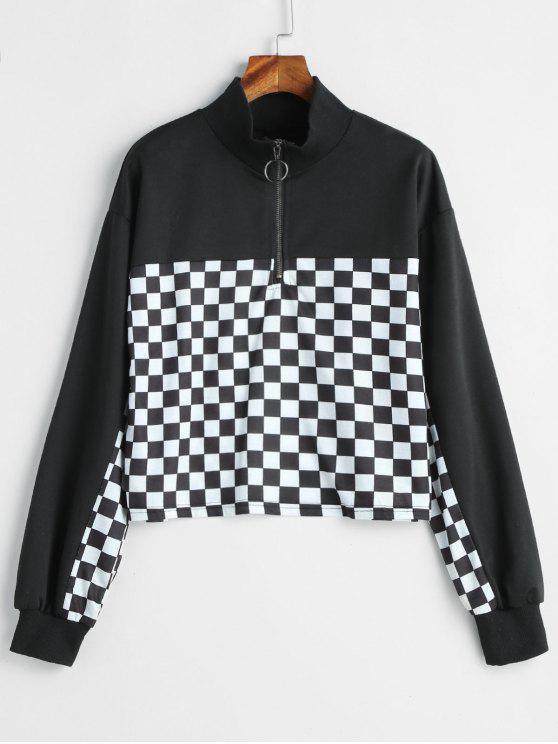 Half-Zip-Karo-Sweatshirt - Schwarz L