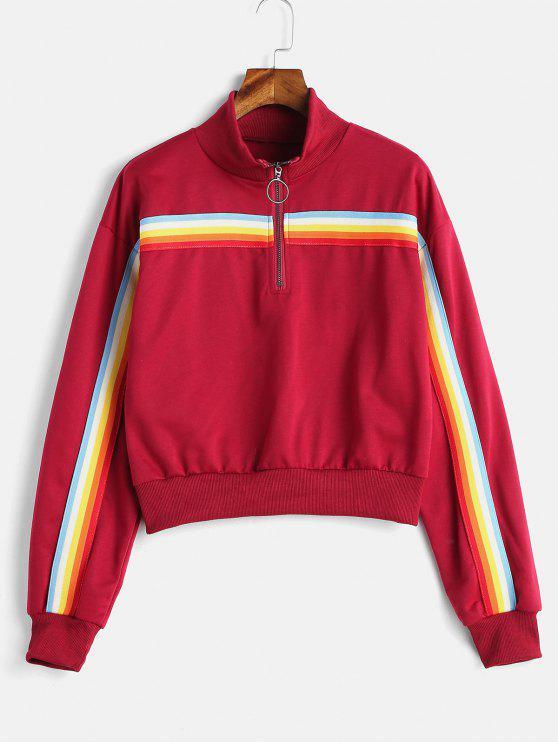 Rainbow Striped gepatchtes Sweatshirt mit halber Reißnaht - Roter Wein S