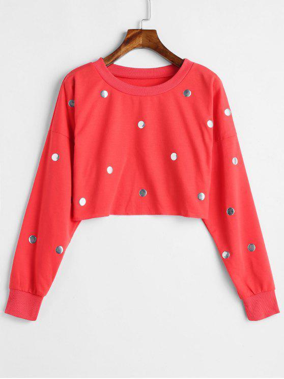 Nietenverschönertes Crop-Sweatshirt - Bohne Rot L