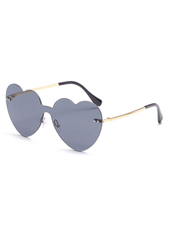 ladies Vintage Heart Lens Rimless Sunglasses - BLACK