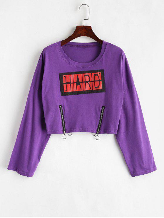 Camiseta con hombros caídos y estampado de letras - Púrpura Talla única