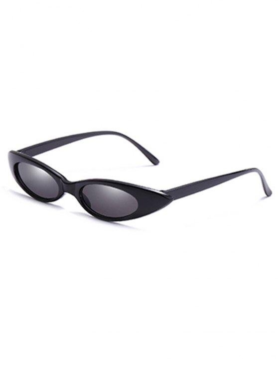 latest Stylish Flat Lens Slim Catty Sunglasses - BLACK