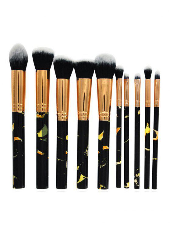 Cosmetic 10Pcs Marble Handles Eyeshadow Blending Blush Liquid Foundation Brush Suit - Black