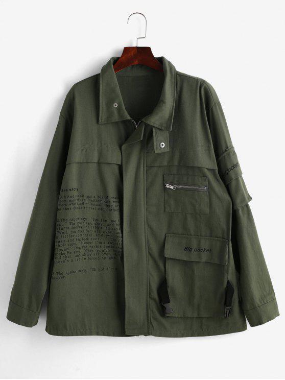 Flap Pockets Graphic Zip Up Jacket - Verde Marrón Claro M