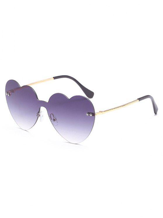 unique Vintage Heart Lens Rimless Sunglasses - LIGHT SLATE GRAY