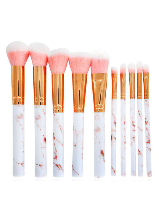 buy Cosmetic 10Pcs Marble Handles Eyeshadow Blending Blush Liquid Foundation Brush Suit - PINK