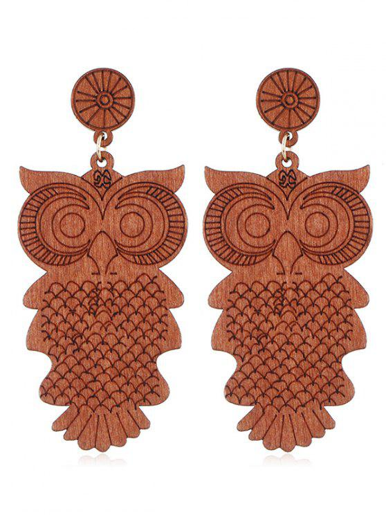 womens Cartoon Owl Wooden Drop Earrings - ORANGE SALMON