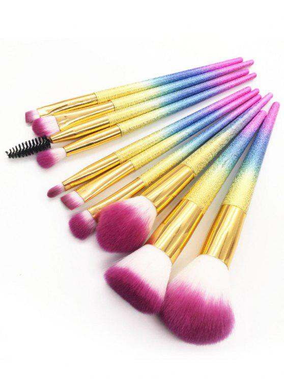 online Professional 10Pcs Colored Handles Ultra Soft Travel Cosmetic Brush Set - MULTI-A