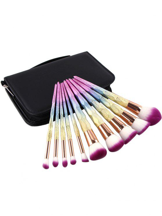 new Professional 10Pcs Colored Handles Travel Cosmetic Brush Set with Brush Bag - MULTI REGULAR