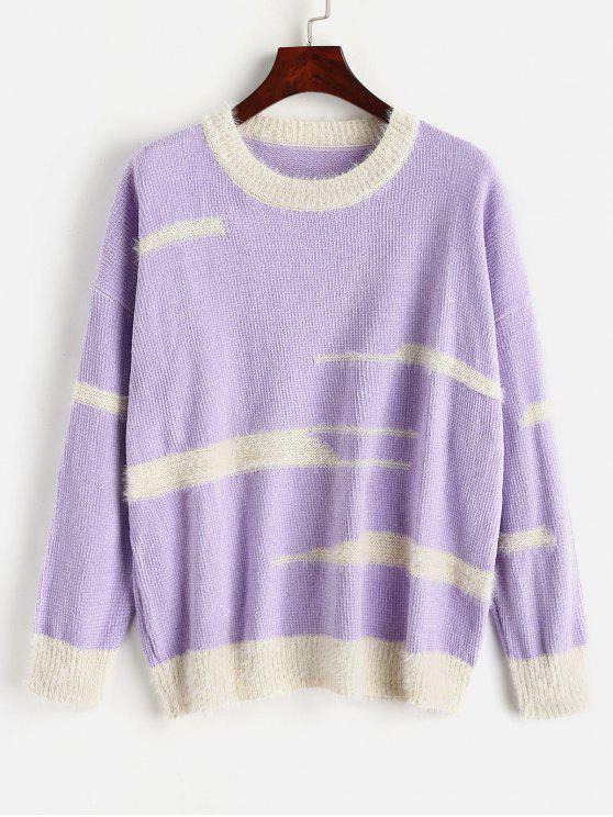 Suéter de chenilla con hombros caídos y rayas irregulares - Mimosa Púrpura Talla única