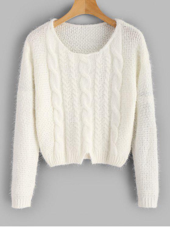 Zopfmuster Fuzzy Sweater - Weiß Eine Größe