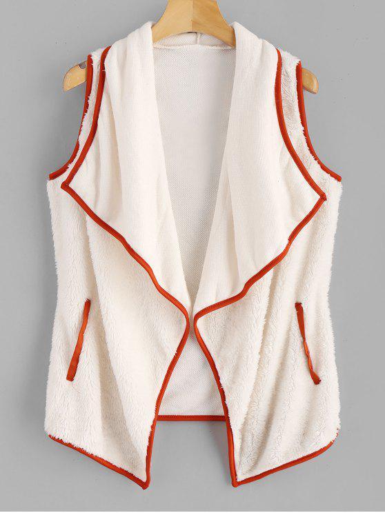latest Fluffy Turndown Collar Waistcoat - WARM WHITE XL