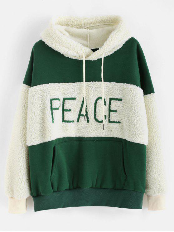 Flauschiger Kunstpelz Fleece-Drop Schulter Hoodie - Dunkelgrün Eine Größe