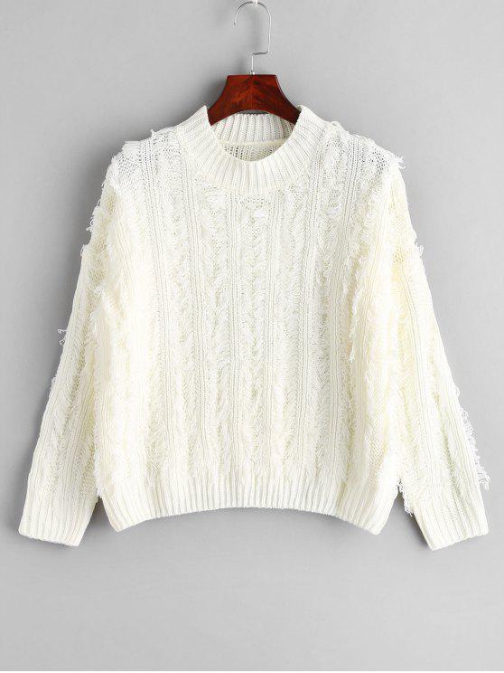 Jersey de punto con hombros caídos con flecos - Blanco Talla única