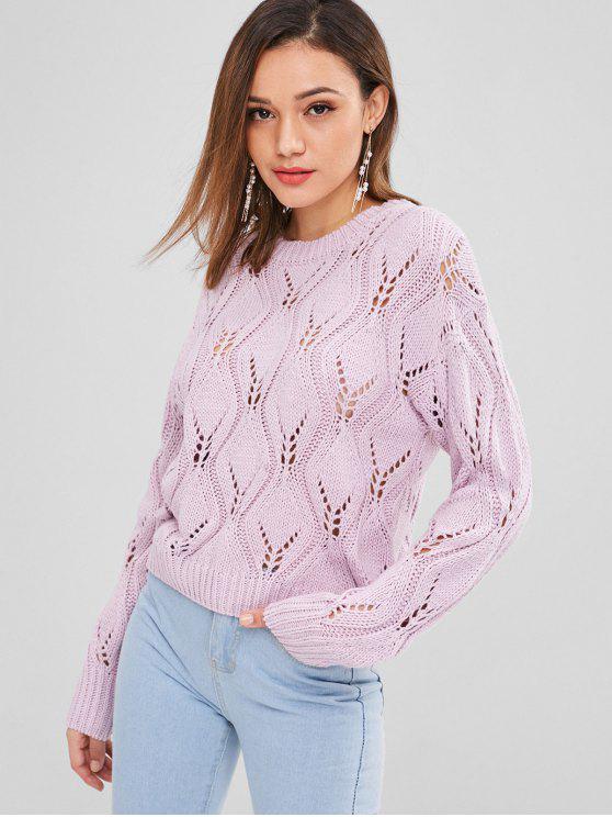 Suéter de punto de punto de cable - Color de malva Talla única