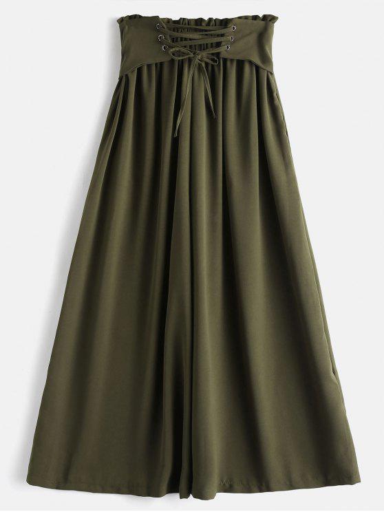 Pantalones de pierna ancha Culotte de cintura alta - Ejercito Verde L