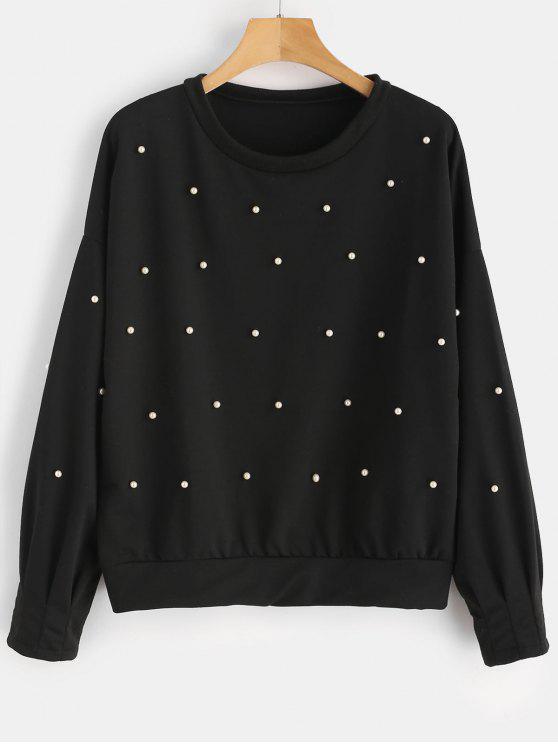 Perlen Rundhals Sweatshirt - Schwarz XL