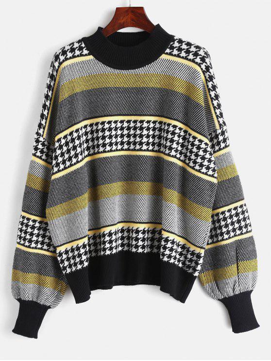Grafischer Houndstooth Panel Sweater - Multi Eine Größe