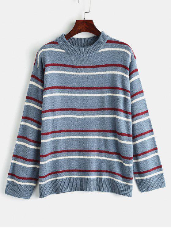 Pullover Streifen Rundhals Pullover - Blaugrau Eine Größe