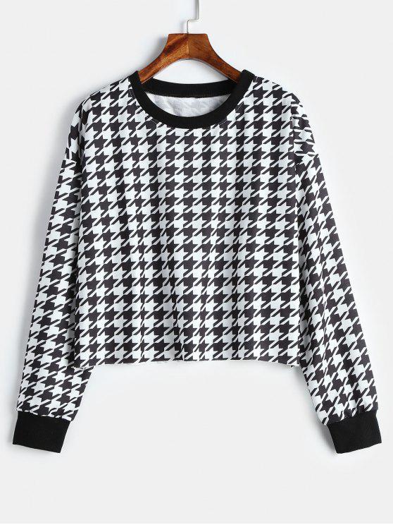 Kurzes Houndstooth Pullover-Sweatshirt - Multi L