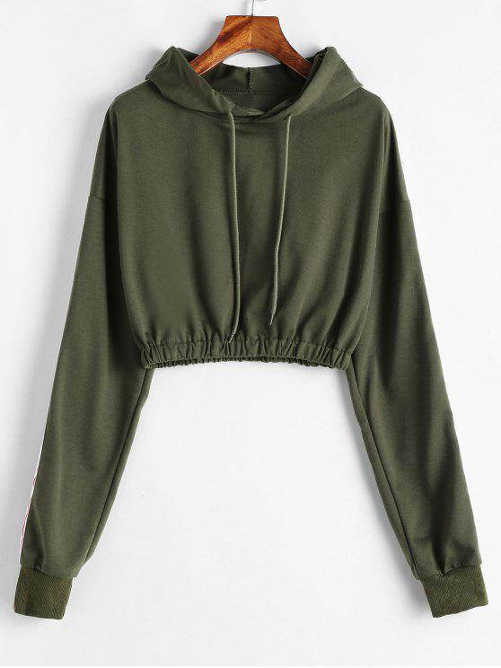 Ribbon Elastic Hem Cropped Hoodie - Ejercito Verde L