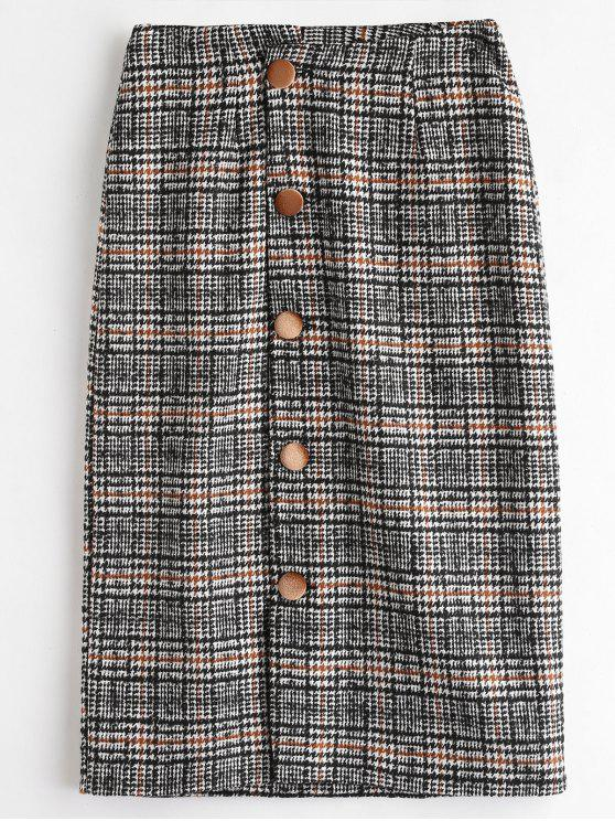 Falda de pata de gallo con botones arriba - Negro XL