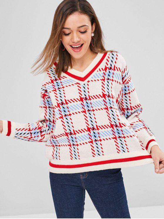 Suéter gráfico geométrico con cuello en V - Beis Talla única