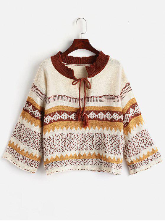 Geometrischer Schlüsselloch-Tropfen-Schulter-Pullover - Warmweiß Eine Größe