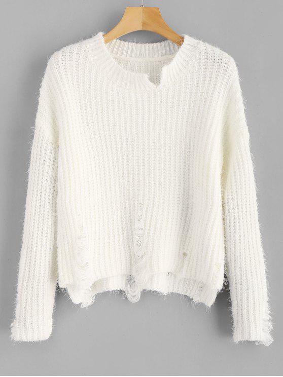 Zerrissene Fuzzy High Low Sweater - Weiß Eine Größe