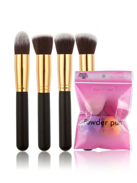 outfit Cosmetic 4Pcs Ultra Soft Makeup Brushes and 4Pcs Blender Sponges Set - BLACK