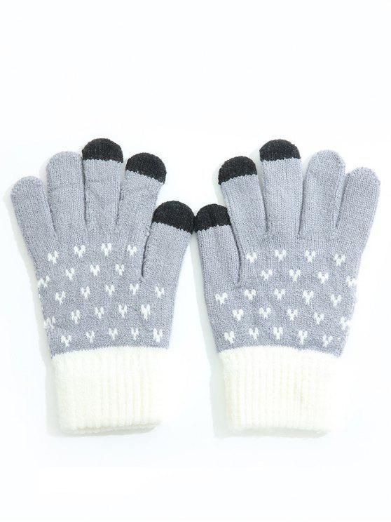 buy Winter Color Block Full Finger Ski Gloves - BLUE GRAY