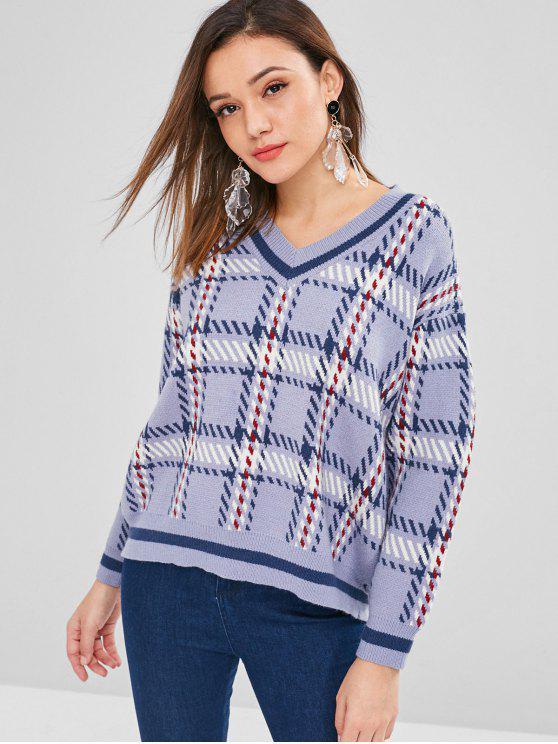 V-Ausschnitt geometrische Grafik Sweater - Blaugrau Eine Größe