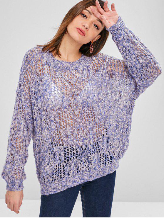 fashion Openwork Drop Shoulder Oversize Sweater - MULTI ONE SIZE