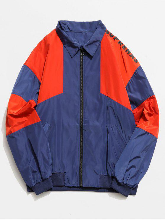 women Color Block Graphic Zip Front Jacket - CADETBLUE L