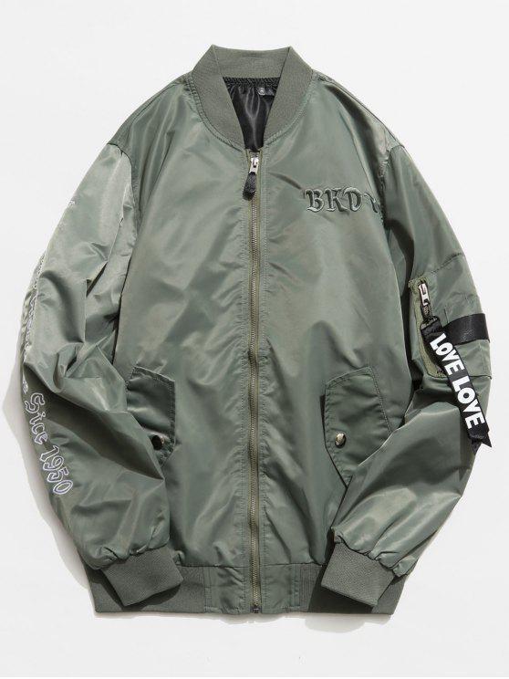 best Graphic Pockets Souvenir Jacket - HAZEL GREEN XS