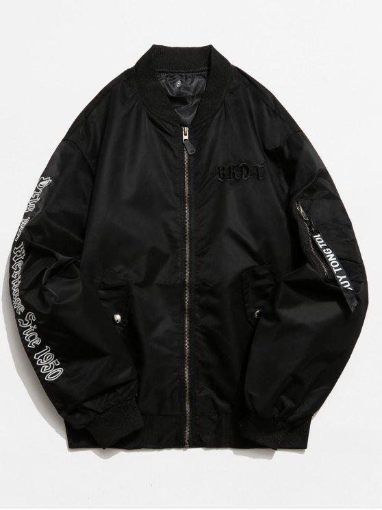 women Graphic Pockets Souvenir Jacket - BLACK S