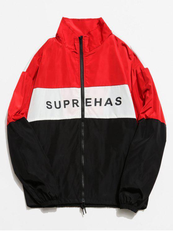 online Colorblock Graphic Zip Front Jacket - RED M