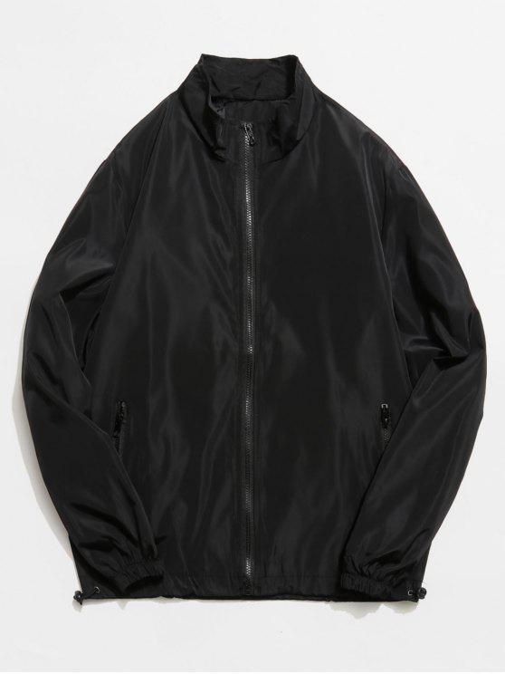 Gola de pé zip bolsos frontais jaqueta - Preto XS