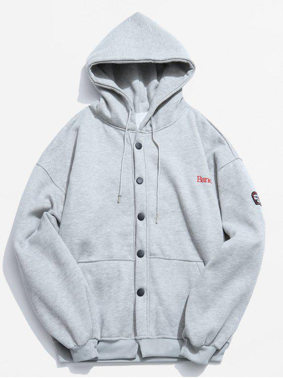 fashion Button Up Hooded Fleece Jacket - LIGHT GRAY M