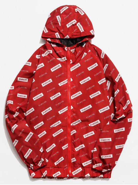 sale Graphic Mesh Lined Zip Hooded Jacket - RED 2XL